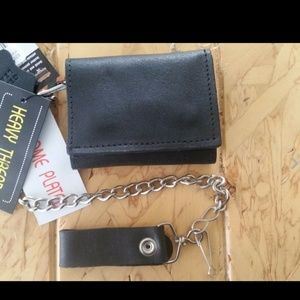 Leather trifold biker wallet with chain